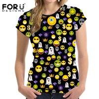 FORUDESIGNS New Arrival Cute Emoji Polka Dot T Shirts Women T Shirt Summer Girls Tops Tees