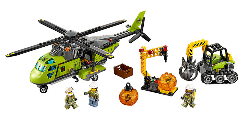 Model building blocks kits compatible with lego city 60123 lepin 02004 Helicopter Volcanic Expedition brick model building toys
