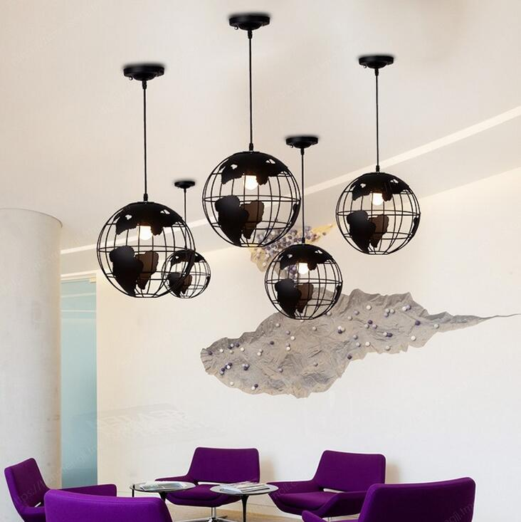 Country Cafe Tea House Globe earth lamp Round Ball Iron Lounge Bar Casual pendant lights Restaurant Bar Counter GY170