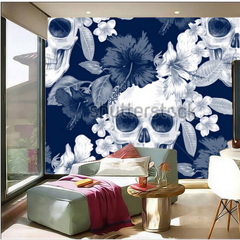 Custom 3D large  murals,exotic flowers. Hibiscus palm leaves skulls papel de parede,living room sofa TV wall bedroom wall paper custom 3d large murals vector geometric pattern background papel de parede living room sofa tv wall bedroom wall paper