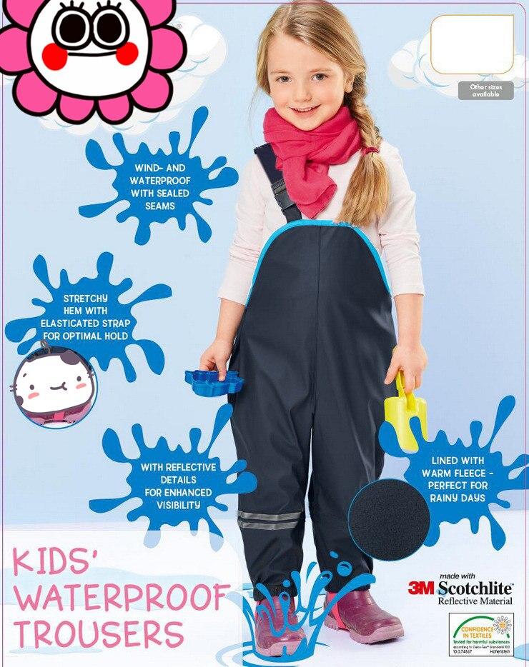 Bib pantalon printemps et automne enfant de sexe féminin étanche double couche pantalon de pluie bretelles plage pantalon qualité mince ski pantalon