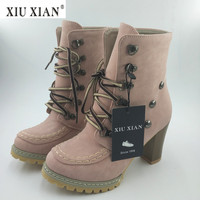 Thick High Heel Women Martin Boots PU Leather Comfortable Ankle Boot 2018 New Fashion Casual Big Size 43 Winter Autumn Lady Shoe