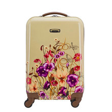 New Plant Flowers Illustration Luggage Women's Fashion Print Travel Suitcase ABS+PC Universal Wheels Trolley Luggage Bag