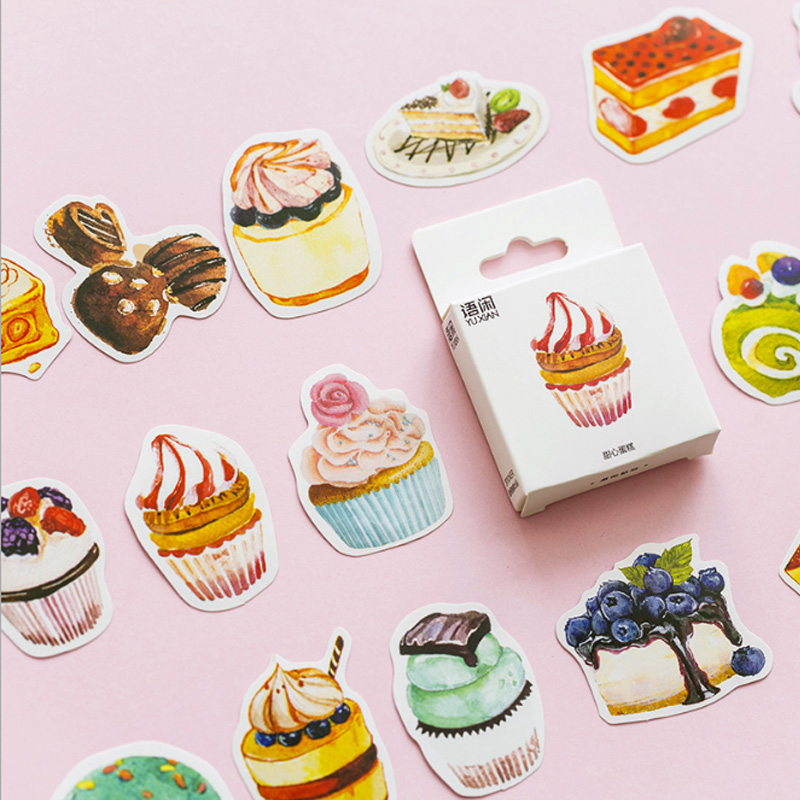 50pcs/box Sweet cake creative sticker diy hand gift bag sealing kawaii decoration adhesive tape Diary stationery stickers creative petal secret of the garden decorative sticker tape diy adhesive stickers diy decoration diary school office supply