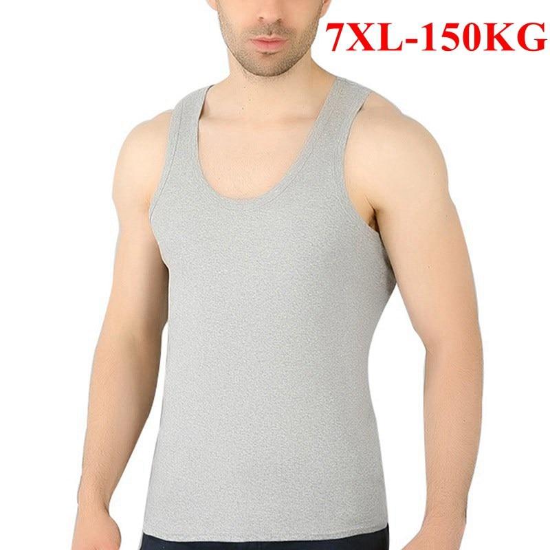 100% Baumwolle Herren Unterhemd Große Größe 6xl 7xl Solide Grau Weiß Komfortable Männlichen Plus Größe 4xl 5xl Hohe Qualität Männer Tops Einen Effekt In Richtung Klare Sicht Erzeugen