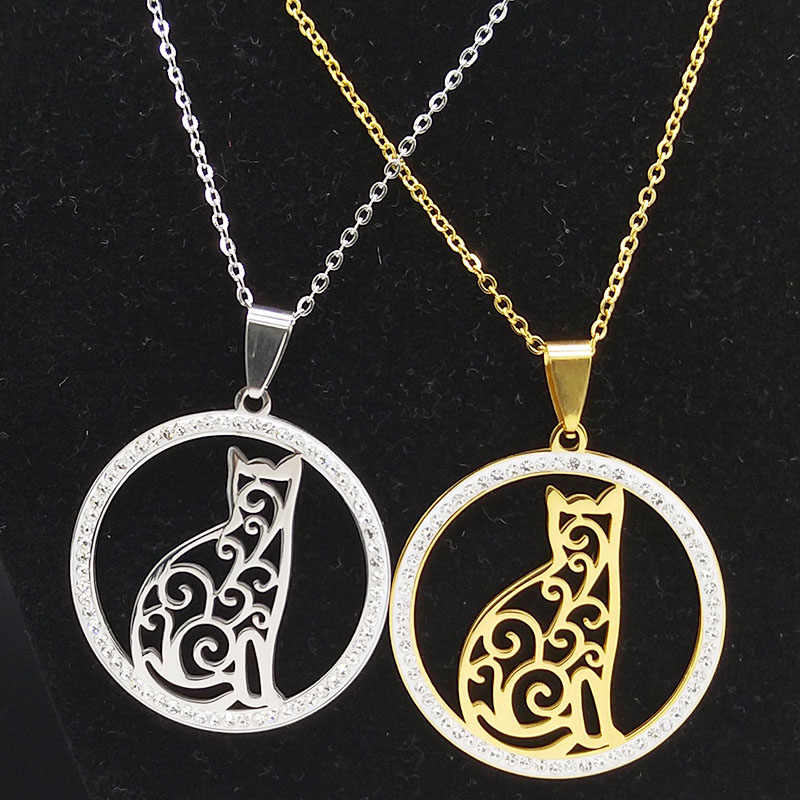 2019 Fashion Cat Stainless Steel Necklaces for Women Round Crystal Silver Color Statement Necklace Jewelry collar gato N18259