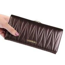 Натуральная кожа бренд Дизайн женщины кошельки дамы клатч Сумочка известные бренды женщина кошелек длинный женский кошелек