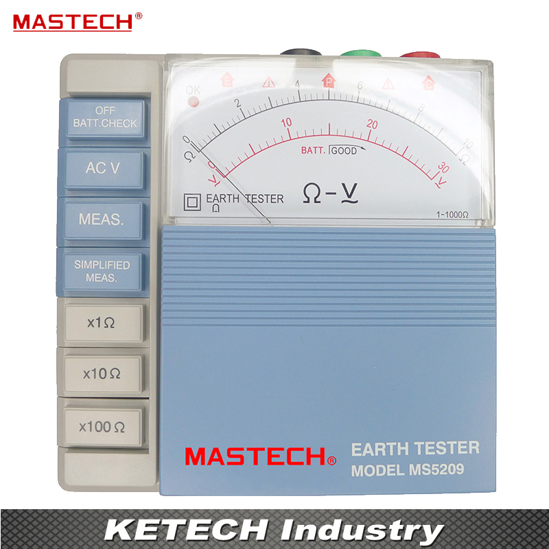 Pointer Ground Resistance Tester Analog Earth Resistance Tester Meter 10ohm to 1000ohms Low Power MASTECH MS5209 big discount brand new sm8124 internal battery resistance impedance meter tester battery resistance voltmeter free shipping