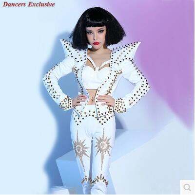 Rhinestone Sexy Rompers Costume Bling Womens Outfit Outfit Celebration Dj White Punk Ds Rivets Female Singer Wear Sexy Clothing