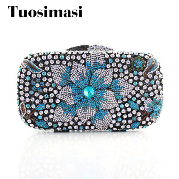 Fashion Elegant Flower Decoration Wedding Women Evening Crystal Rhinestone Clutch Bag 2016 women fashion metallic rhinestone flower pattern crystal evening bag wedding bride clutch handbag