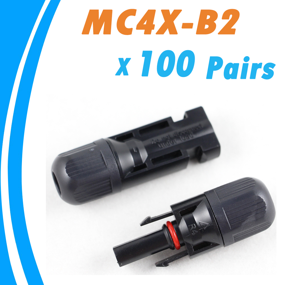 100Pairs Male and Female MC4 Solar Panel Connector Used for Solar Cable Suitable Cable Cross Sections