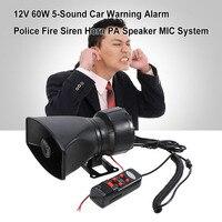 12V 60W 5 Sound Car Warning Alarm Police Fire Siren Horn Loud PA Speaker MIC System