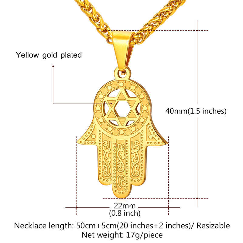 U7 New Hand of Miriam Jewelry Star of David Israel Pendant Gift Trendy Stainless Steel Amulet Charm Hamsa Hand Necklaces P934