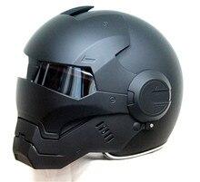 Envío gratis top abs moto ktm masei casco de motorista iron man personalidad especial moda medio open face casco de motocross negro