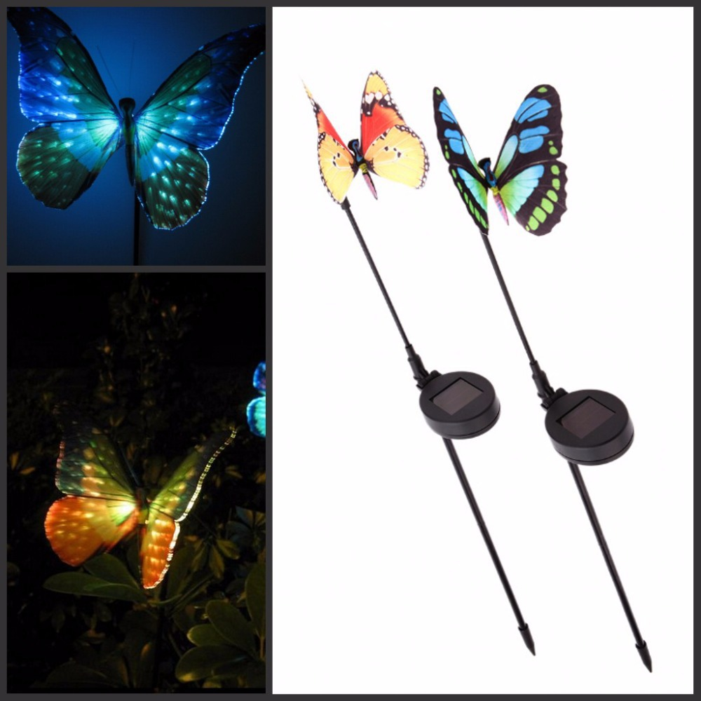 Butterfly lawn ornaments - 2016 New Garden Ornaments Solar Powered Lawn Lamp Butterfly With Light Sensor Rgb Changing Light Rechargeable