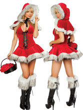 Lace Up Front Santa Dress With Leggings Hoodies 3 Piece Red Riding Hood Costume woman sexy uniform christmas deguisement adultes
