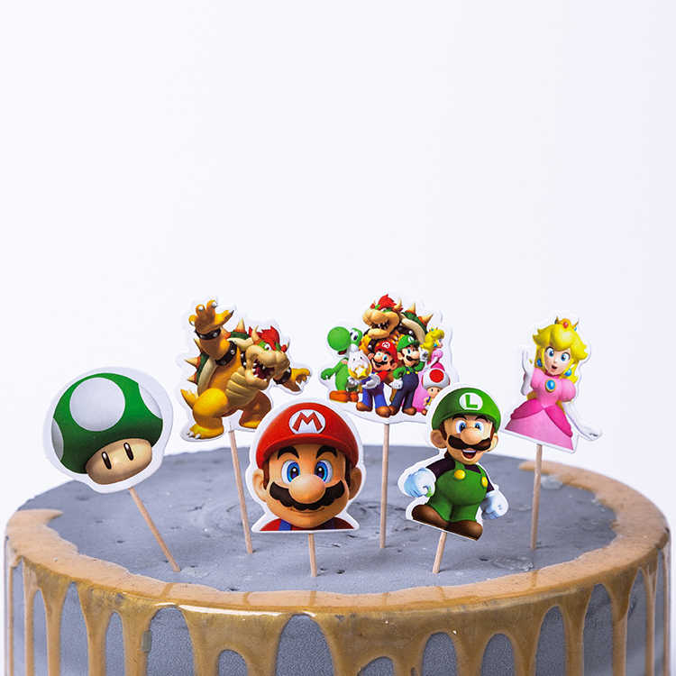24Pcs/pack Super Mario Bros Theme Decorate Birthday Party Cake Topper With Sticks Kids Favors Baby Shower Wedding Cupcake Topper