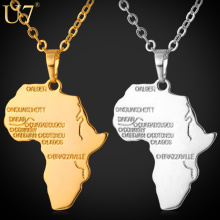 U7 Hiphop Africa Pendant Gold Plated Trendy Women African Map Pendant Necklace Men Jewelry P544