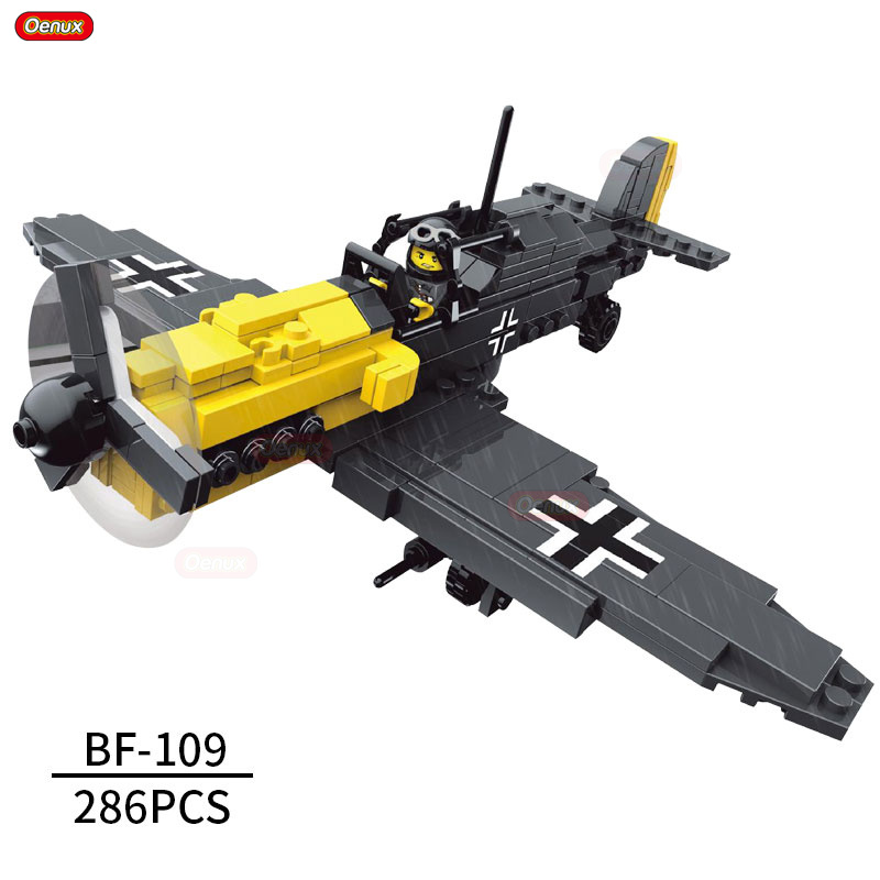 Oenux World War 2 Classic German Fighter BF-109 Single-Seat Aircraft Vehicle Model Military Building Block Brick Toys For Boys loz mini diamond block world famous architecture financial center swfc shangha china city nanoblock model brick educational toys