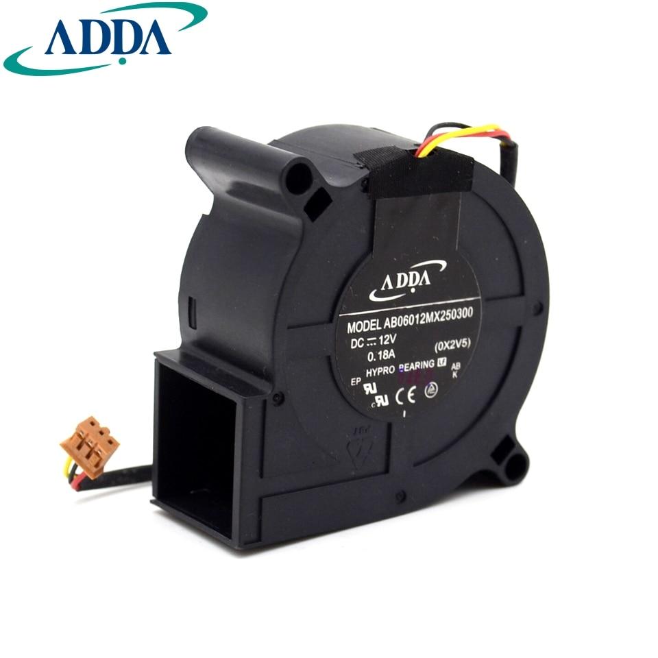 Livraison Gratuite Pour ADDA AB06012MX250300 50mm 60x60x25mm Serveur Blower fan (OX2V5) DC 12 V 0.18A fils 3-pin connecteur