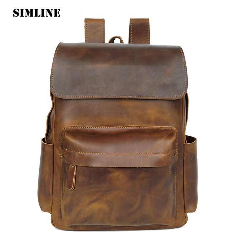 SIMLINE New Vintage Casual Genuine Leather Cowhide Men Mens Travel Business Backpack Shoulder Bag Bags Backpacks For Man Teenage men s genuine leather double shoulder backpacks real cowhide leather backpack for men brand bags man multi fuctional bag