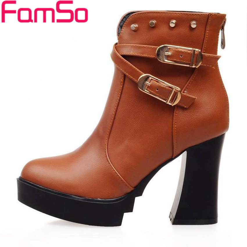 Plus Size34 43 2016 New Sexy font b Women b font boots Buckle Rivets High Thick
