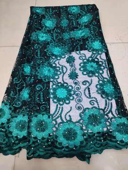 Green colour French Lace fabrics 2019 African Net Lace Fabric Hot Sale French Net Lace Fabric For Women Wedding Dress