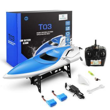 Barco RC 30 km/h de alta velocidad 2,4 GHz 4 canales de carreras de Control remoto bote con pantalla LCD como regalo para juguetes para niños regalos de Navidad para niños
