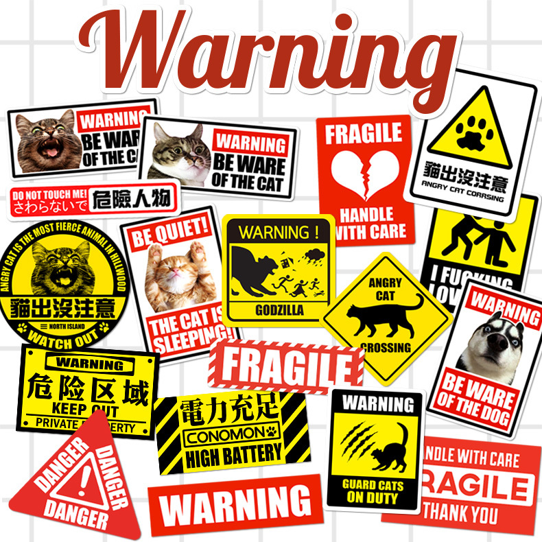17pcs cute animal stickers warning signs line suitcase car sticker tide brand waterproof luggage