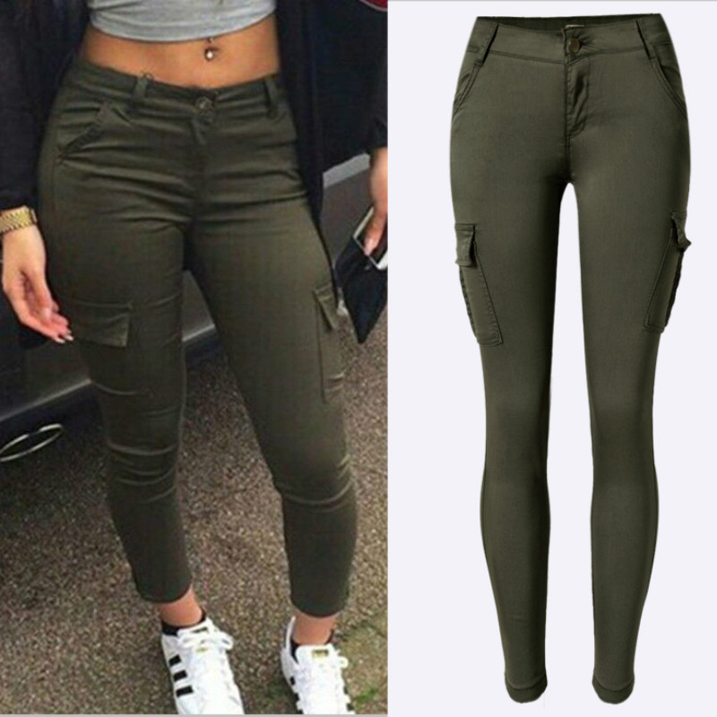 2019 New Army Green Pockets Trousers Women Fashion Cotton Safari Style High Elastic Skinny   Jeans   Mujer Low Waist Patchwork Pants