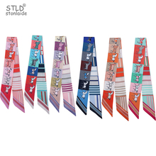 Design New Women small long silk scarf fashionable horse pirnted women scarves hair band tie Elegant Handbag Ribbons