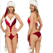 Christmas Baby Doll Lingerie Sexy Hot Erotic Red Porno Nightgown Night Dress Halter Costumes Female Santa Claus  Babydoll