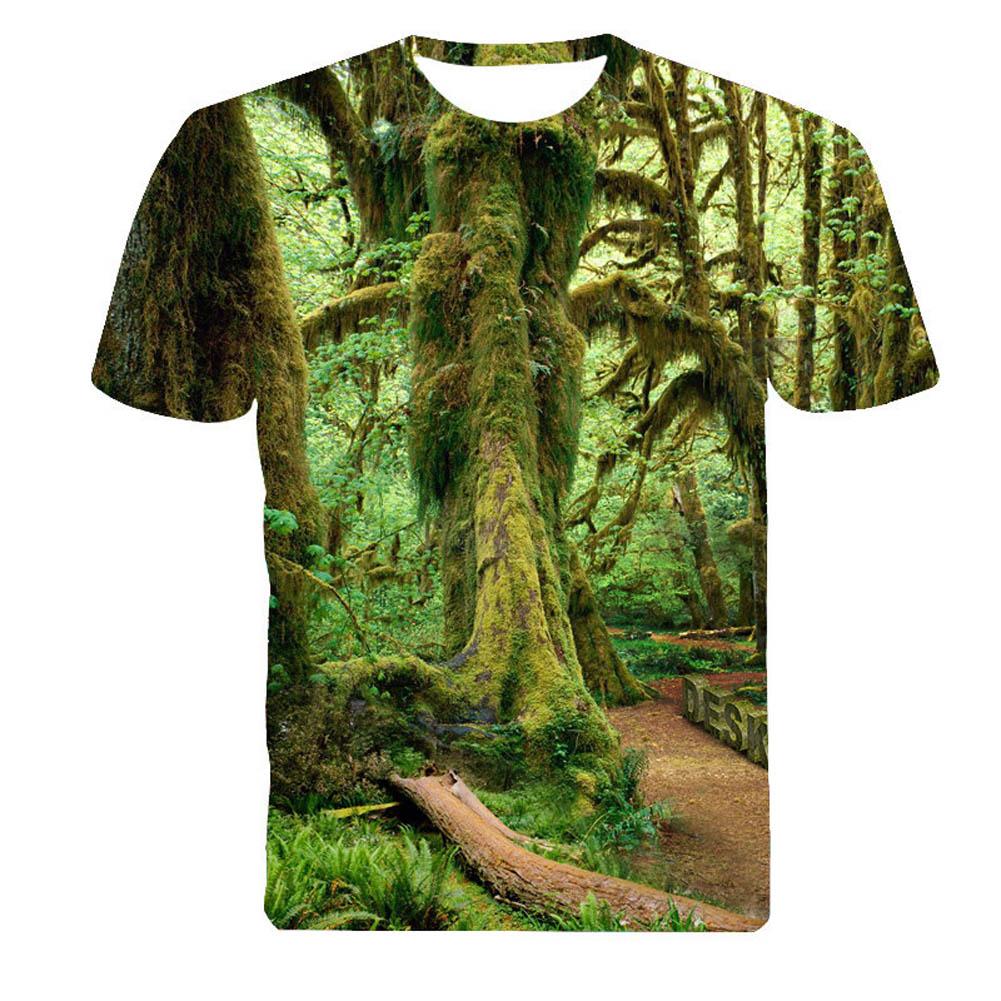 93e02748 2016 Men Fashion 3D Creative T-shirt Tree Printed Short Sleeve T Shirt M-4XL