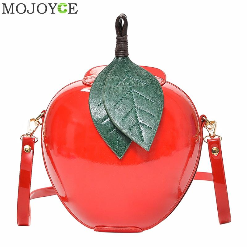 Fashion PU Leather Apple Shape Bag Women Crossbody Bags Cute Funny Mini Messenger Bags Women Small Handbag Female Shoulder Bags cute pencil shape and pu leather design crossbody bag for women