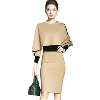 2018 Fashion New The Winter Temperament Women Ol Slim Slim Cloak Shawls Long Sleeved Dress Bag Hip Step Dress Bottom Dess LXT60