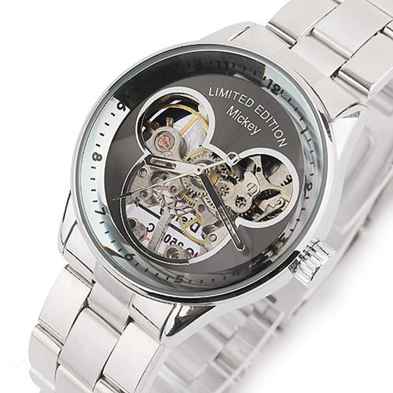 Famous design Women Limited Edition Mickey Cartoon Mechanical Watch Hand Wind Wrist watch Full Steel Gift
