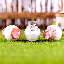 1pcs A/B/C home decor Resin Miniature Small Mouth Vase DIY Craft Accessory Home Garden Decoration maison Accessories S300102(China)