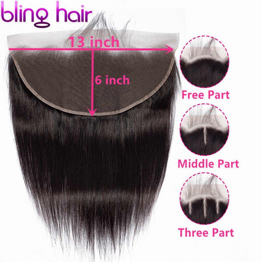 Bling Hair Brazilian Straight 13x6 Lace Frontal Closure 100% Remy Human Hair Lace Closure Free/Middle/Three Part Natural Color