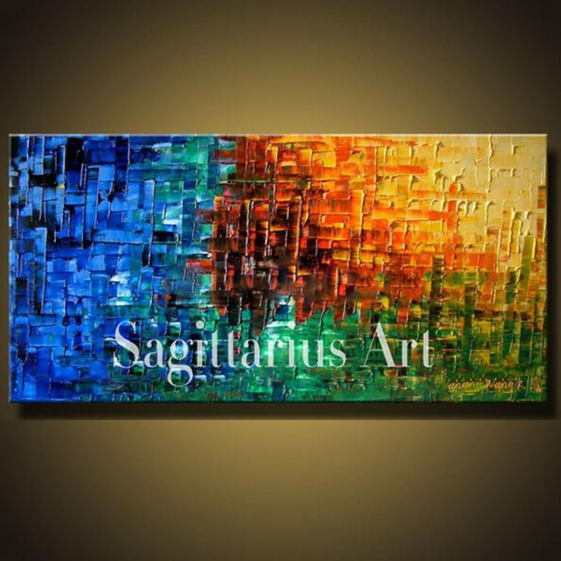 Hand Painted High Quality Modern Palette font b Knife b font Painting Multicolored Wall Art Abstract