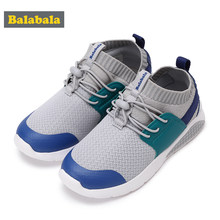 Balabala Children Kids Boys LED Shoes Lace-up Sneakers with Stretchy Knit Upper Toddler Breathable Lightweight Running Shoes(China)