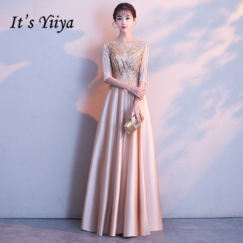 It's YiiYa Long   Evening     Dress   Elegant Illusion Shining Sequins O-neck Formal Gown Champagne Half Sleeve Party   Dresses   E029