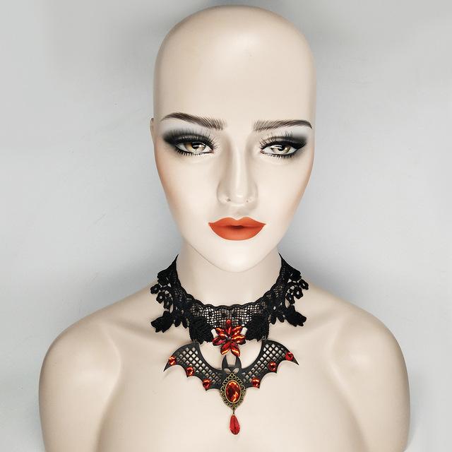 Creative Bat Decorated Lace Steampunk Choker Necklace