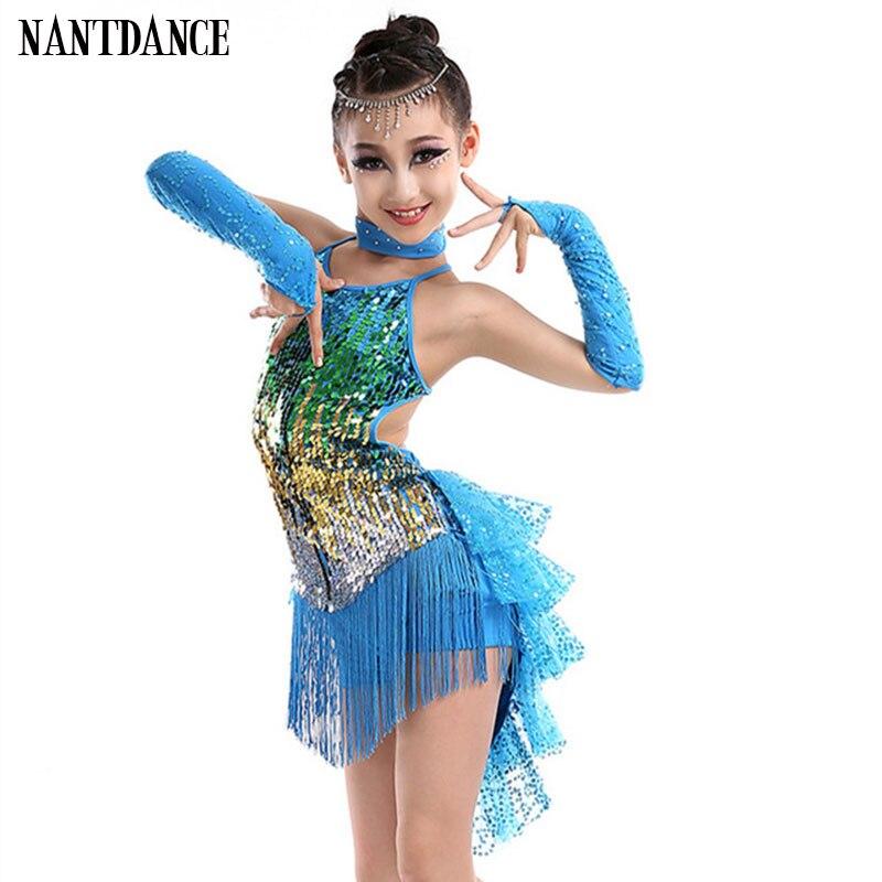 Performance Samba Tassel Latin Dancewear Costumes Girls Salsa Ballroom Fringe Sequins Latin Dress For Girls Kid Latin Dance