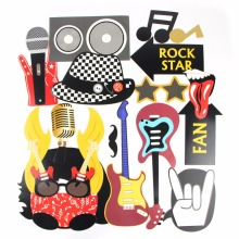 Rock Photo Booth Props Kit(16 pcs ) For Party Supplier Accessories DIY Selfie Set with Stick for Favors