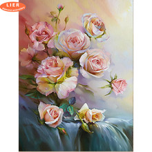 LIER Diamond Painting Flowers Full Square Rhinestones Cross Stitch Embroidery Rose Hobby Home Decor