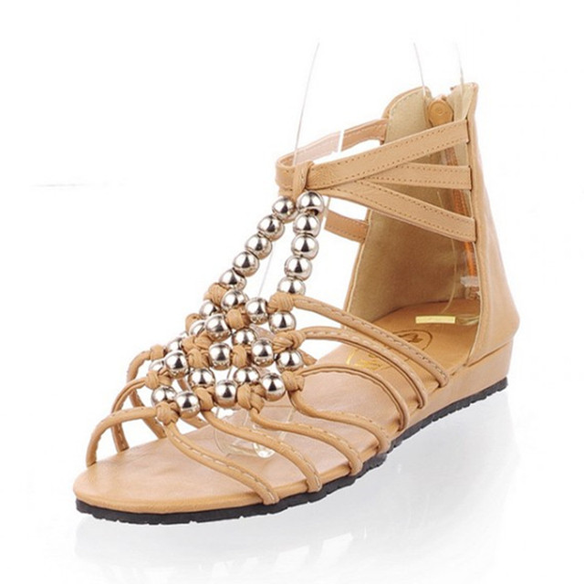 aa6a6f3358eff2 Women Sandals 2015 Flat Sandals Gladiator Sandals Flip Flops Ankle Wrap  Female Zipper Plus Size 11 12 Beading Beige Shoes 4-0A