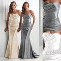 2017 Venta Caliente Entrega Rápida Sirena Azul Real Vestidos de Noche de Borgoña Gris Plata Stretch Satin Sweetheart Prom Vestidos de Las Mujeres