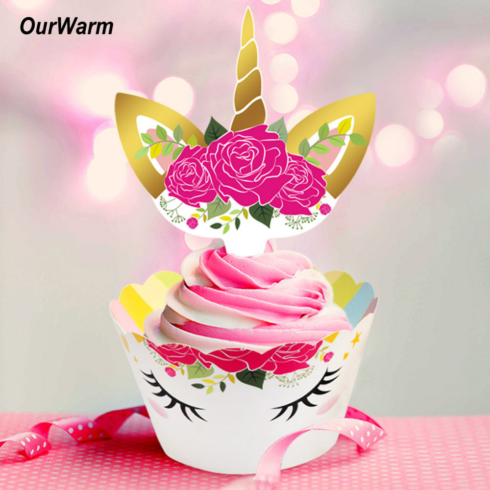 OurWarm 48Pcs Wedding Cupcake Toppers Unicorn Theme Wedding Decorations 1st Birthday Baby Shower Bachelorette Party Supplies