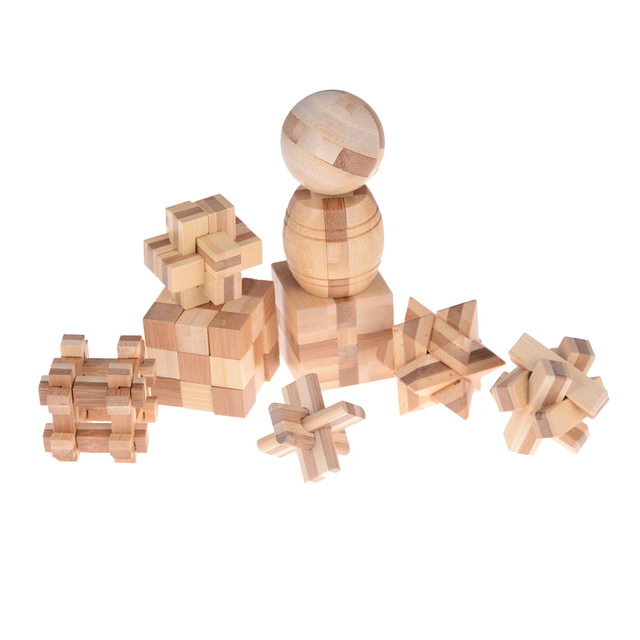 Kong Ming Luban Lock Kids Children 3D Handmade Wooden Toy Adult Intellectual Brain Tease Game Puzzle 2