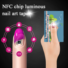 MEET ACROSS 2 Sets/4Pcs Shiny NFC Nail Art Tips Sticker Nail LED Art Stickers Water Transfer  Chip Glowing Nail Decal Manicure flamingo nail stickers animal series water decal ocean cat plant pattern 3d manicure sticker nail art decoration